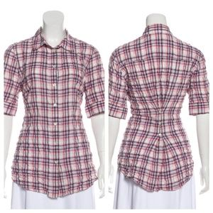 ELIZABETH & JAMES Gathered Back Crinkle Plaid Top